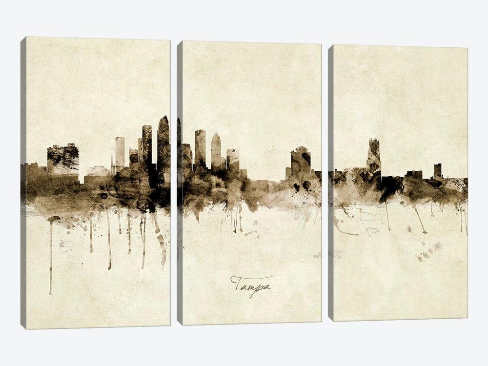 Tampa Florida Skyline by Michael Tompsett 3-piece Canvas Art Print