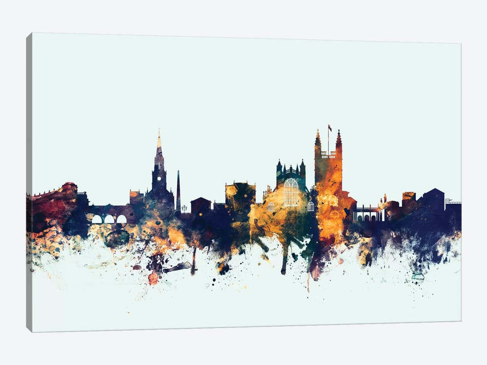 Skyline Series: Bath, England, United Kingdom On Blue by Michael Tompsett 1-piece Canvas Art