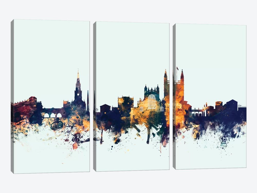 Skyline Series: Bath, England, United Kingdom On Blue by Michael Tompsett 3-piece Canvas Art