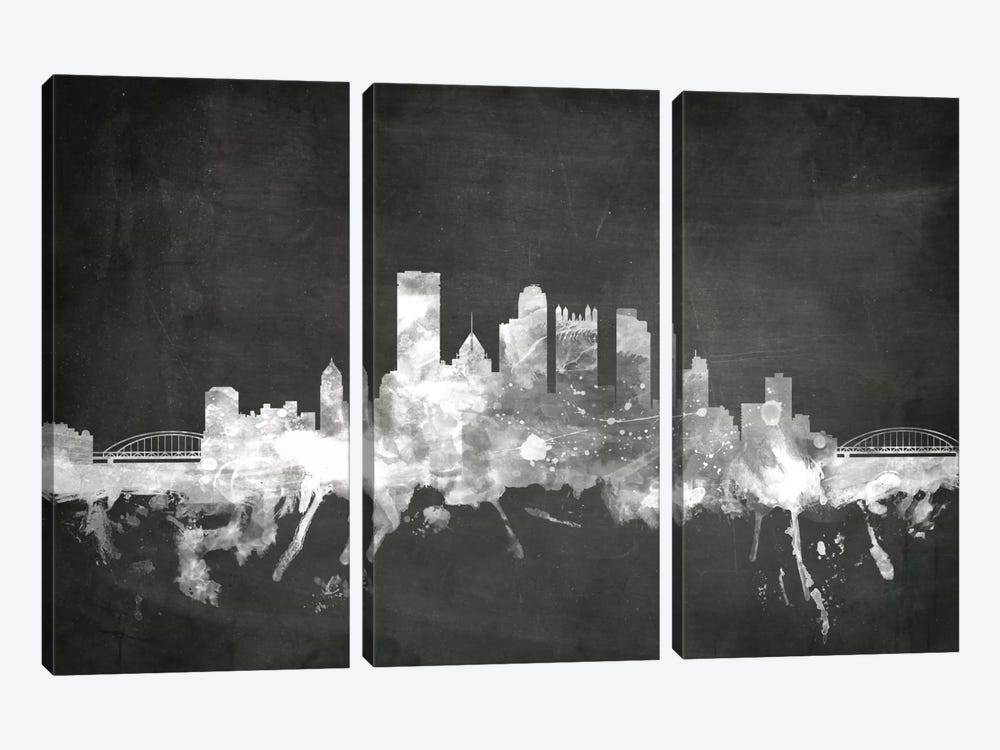 Blackboard Skyline Series: Pittsburgh, Pennsylvania, USA by Michael Tompsett 3-piece Art Print