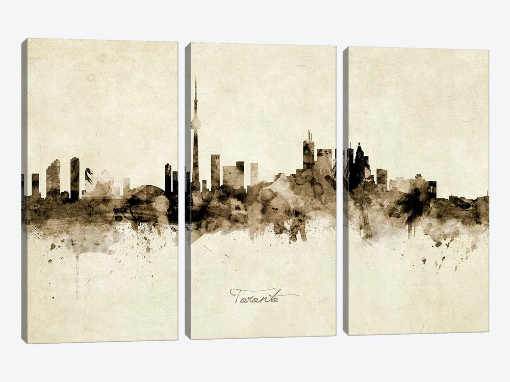 Toronto Canada Skyline by Michael Tompsett 3-piece Canvas Art Print