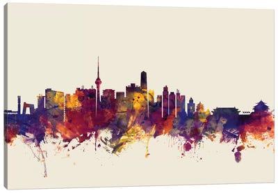 Beijing, People's Republic Of China On Beige Canvas Art Print