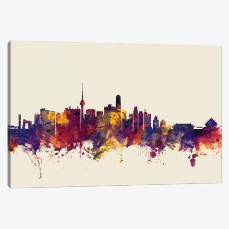Beijing, People's Republic Of China On Beige Canvas Print #MTO200} by Michael Tompsett Art Print