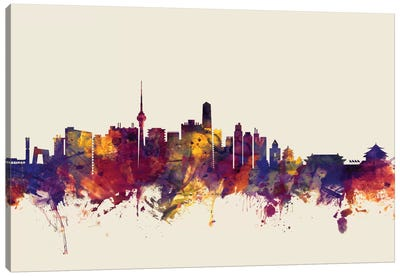 Skyline Series: Beijing, People's Republic Of China On Beige Canvas Art Print