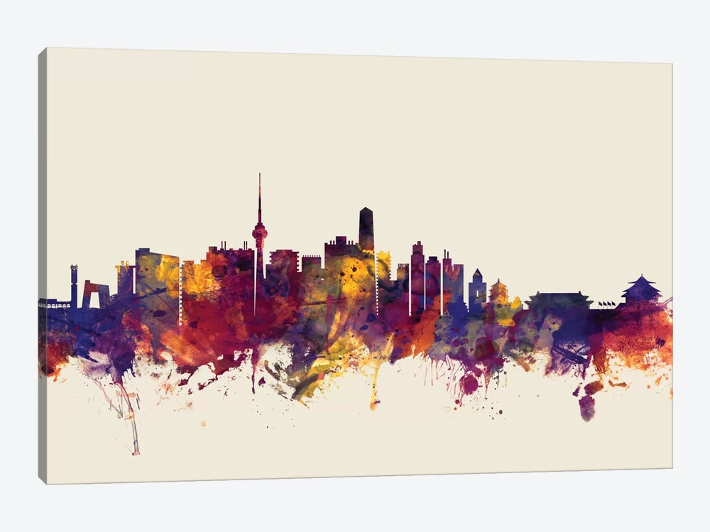 Skyline Series: Beijing, People's Republic Of China On Beige by Michael Tompsett 1-piece Canvas Artwork
