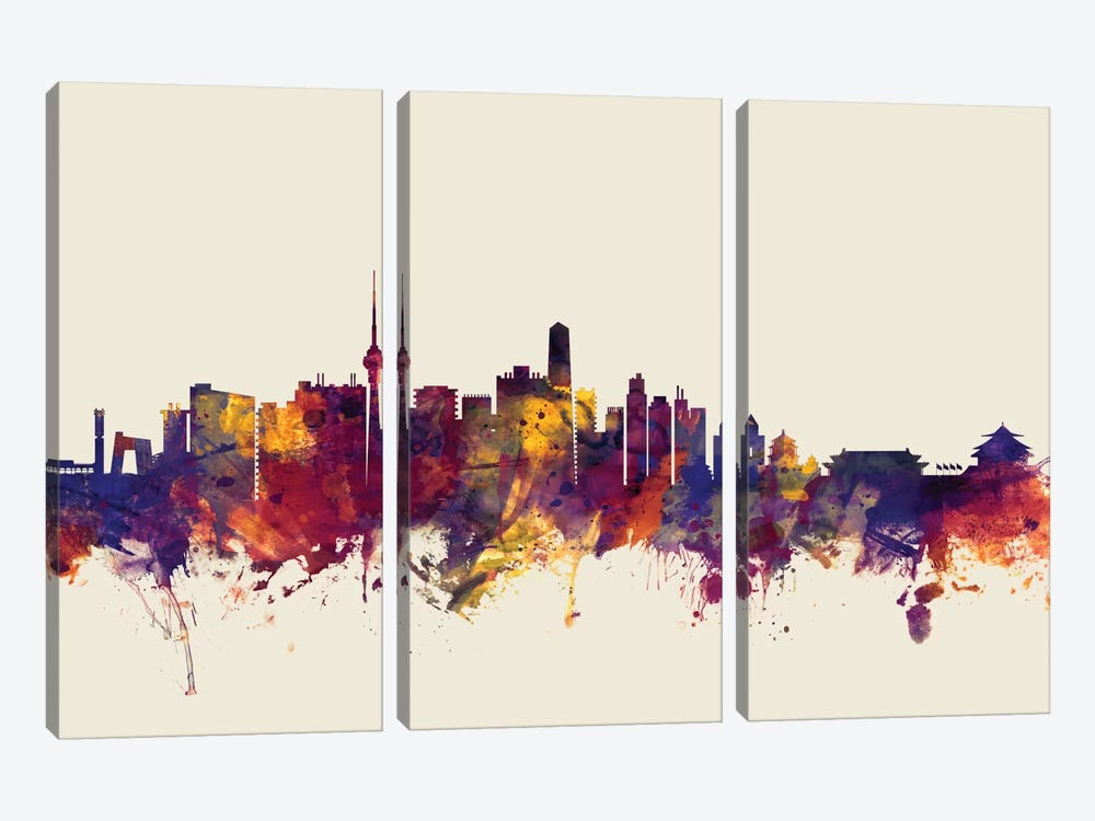 Skyline Series: Beijing, People's Republic Of China On Beige by Michael Tompsett 3-piece Canvas Art