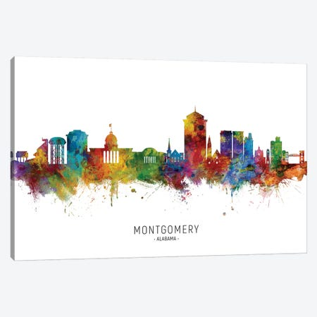 Montgomery, Alabama Skyline Canvas Print #MTO2010} by Michael Tompsett Canvas Print