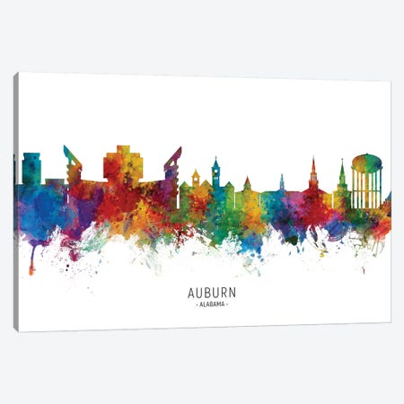 Auburn Alabama Skyline Canvas Print #MTO2019} by Michael Tompsett Canvas Art Print