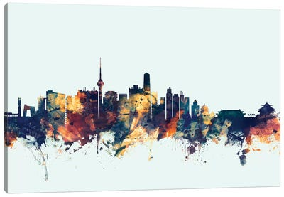 Skyline Series: Beijing, People's Republic Of China On Blue Canvas Art Print