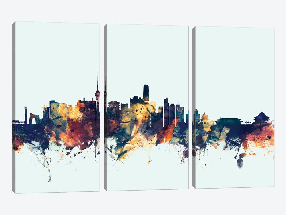 Skyline Series: Beijing, People's Republic Of China On Blue by Michael Tompsett 3-piece Canvas Print