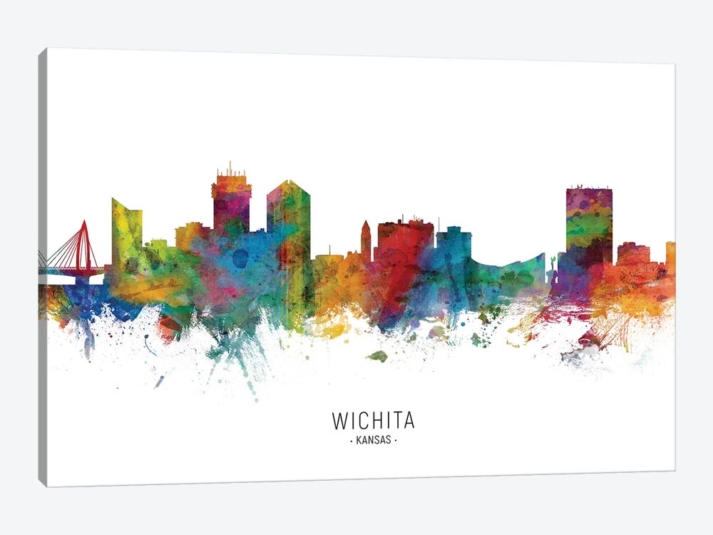 Wichita Kansas Skyline by Michael Tompsett 1-piece Canvas Art Print