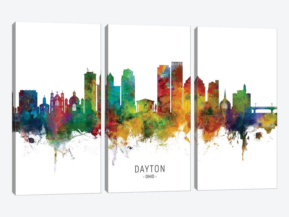Dayton Ohio Skyline by Michael Tompsett 3-piece Canvas Artwork