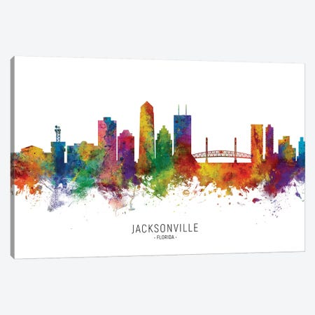 Jacksonville Florida Skyline Canvas Print #MTO2027} by Michael Tompsett Art Print