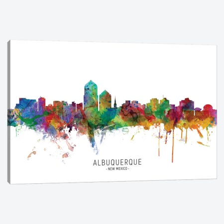 Albuquerque New Mexico Skyline Canvas Print #MTO2028} by Michael Tompsett Canvas Artwork
