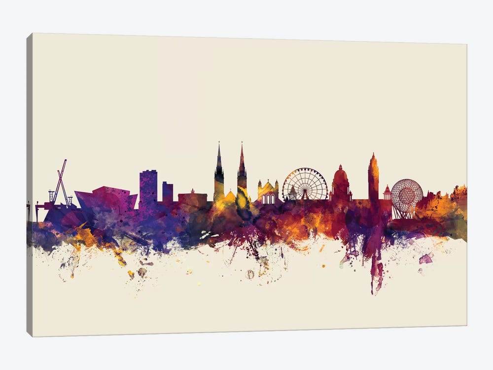 Belfast, Northern Ireland, United Kingdom On Beige by Michael Tompsett 1-piece Canvas Wall Art