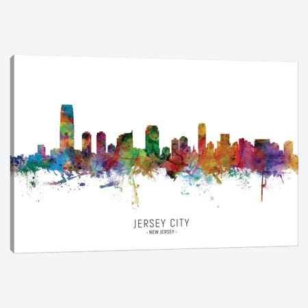 Jersey City New Jersey Skyline Canvas Print #MTO2030} by Michael Tompsett Art Print