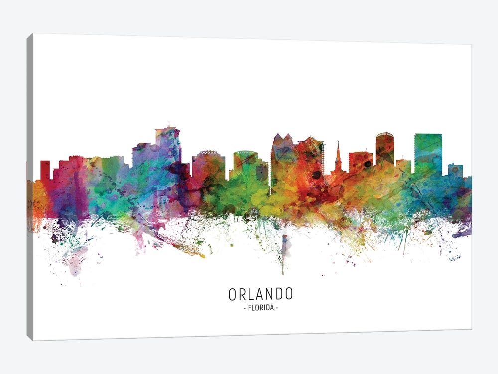 Orlando Florida Skyline by Michael Tompsett 1-piece Canvas Wall Art