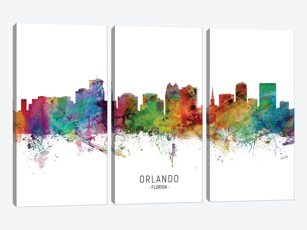 Orlando Florida Skyline by Michael Tompsett 3-piece Canvas Artwork