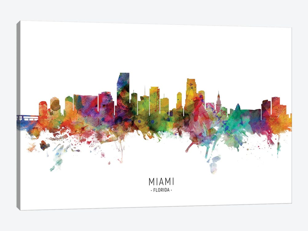 Miami Florida Skyline by Michael Tompsett 1-piece Art Print
