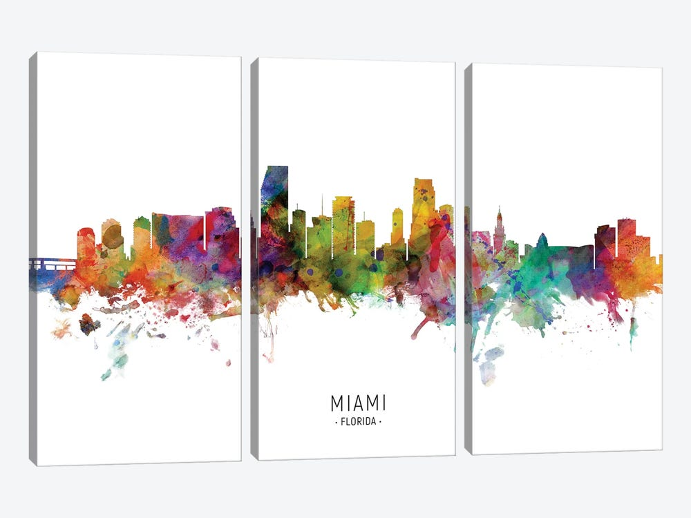 Miami Florida Skyline by Michael Tompsett 3-piece Canvas Art Print