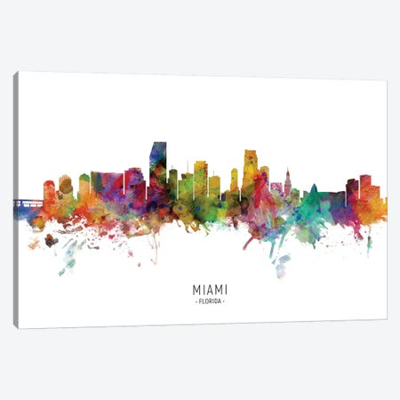 Miami Florida Skyline Canvas Print #MTO2037} by Michael Tompsett Canvas Artwork