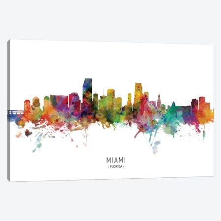 Miami Florida Skyline Canvas Print #MTO2037} by Michael Tompsett Canvas Artwork