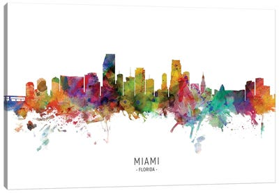 Miami Florida Skyline Canvas Art Print
