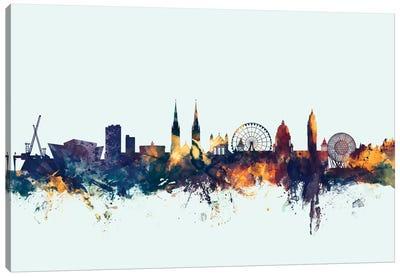 Skyline Series: Belfast, Northern Ireland, United Kingdom On Blue Canvas Print #MTO203