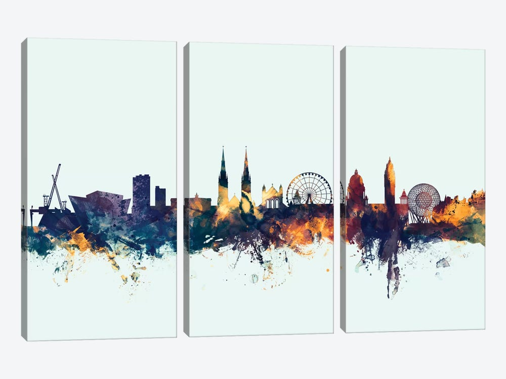 Skyline Series: Belfast, Northern Ireland, United Kingdom On Blue 3-piece Canvas Print