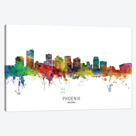 Phoenix Arizona Skyline Canvas Print #MTO2040} by Michael Tompsett Canvas Wall Art