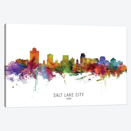 Salt Lake City Utah Skyline Canvas Print #MTO2042} by Michael Tompsett Canvas Artwork