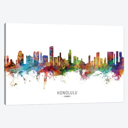 Honolulu Hawaii Skyline Canvas Print #MTO2043} by Michael Tompsett Canvas Art