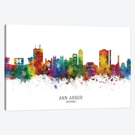 Ann Arbor Michigan Skyline Canvas Print #MTO2047} by Michael Tompsett Canvas Art Print