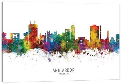 Ann Arbor Michigan Skyline Canvas Art Print