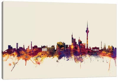 Berlin, Germany On Beige Canvas Art Print