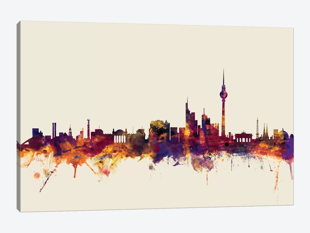 Skyline Series: Berlin, Germany On Beige by Michael Tompsett 1-piece Canvas Wall Art