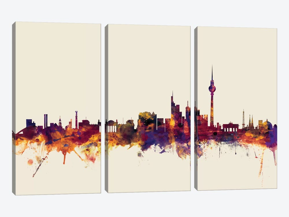 Skyline Series: Berlin, Germany On Beige by Michael Tompsett 3-piece Canvas Art