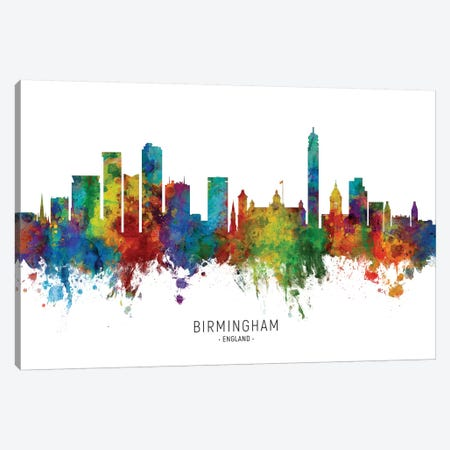 Birmingham England Skyline Canvas Print #MTO2054} by Michael Tompsett Canvas Art
