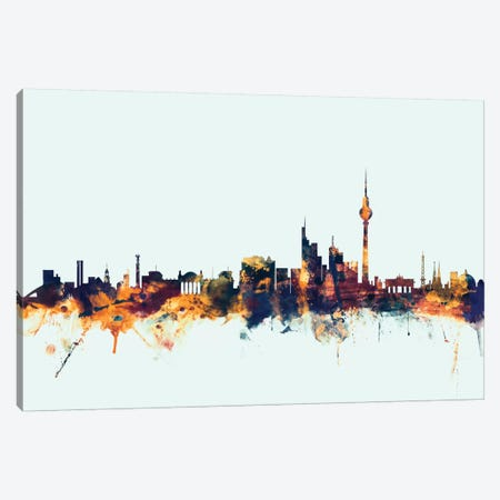 Berlin, Germany On Blue Canvas Print #MTO205} by Michael Tompsett Canvas Wall Art