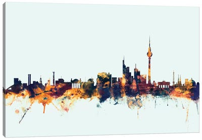 Berlin, Germany On Blue Canvas Art Print