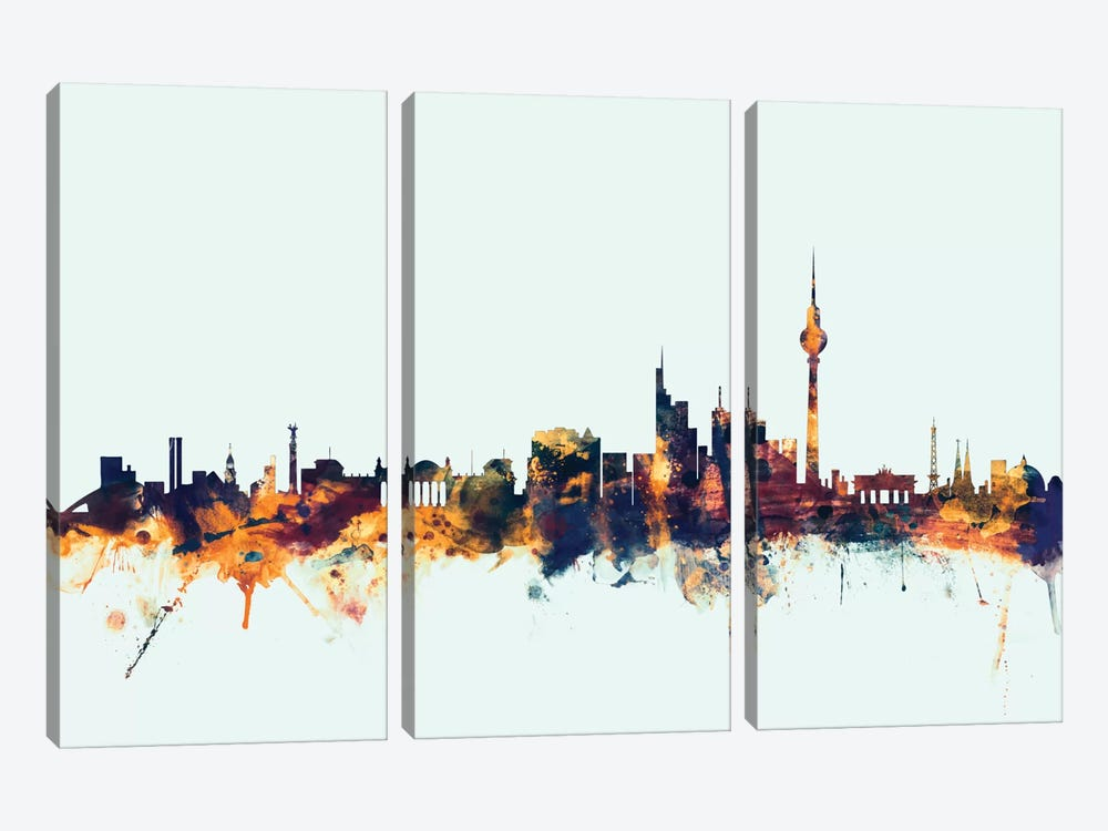 Skyline Series: Berlin, Germany On Blue by Michael Tompsett 3-piece Canvas Print