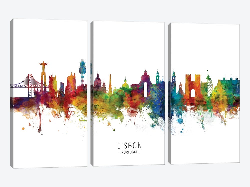 Lisbon Portugal Skyline by Michael Tompsett 3-piece Canvas Artwork