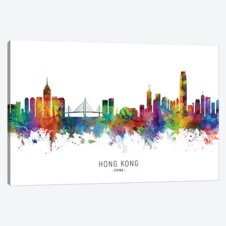 Hong Kong China Skyline Canvas Print #MTO2063} by Michael Tompsett Canvas Art
