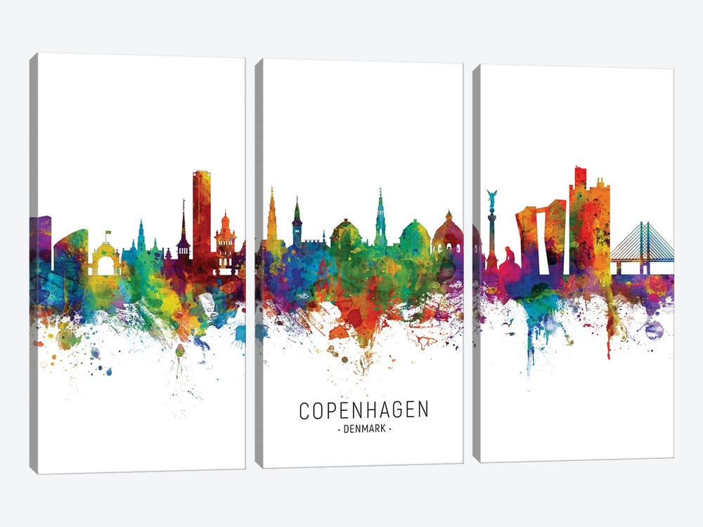Copenhagen Denmark Skyline by Michael Tompsett 3-piece Canvas Art Print