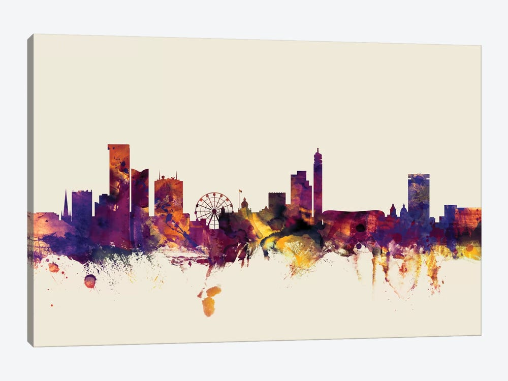Birmingham England, United Kingdom On Beige by Michael Tompsett 1-piece Canvas Wall Art