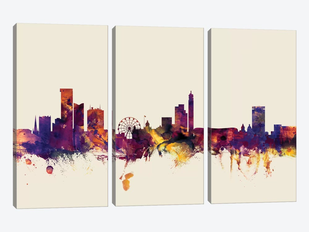 Birmingham England, United Kingdom On Beige by Michael Tompsett 3-piece Canvas Art