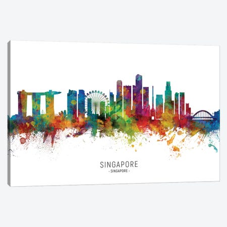 Singapore Skyline Canvas Print #MTO2070} by Michael Tompsett Canvas Art Print
