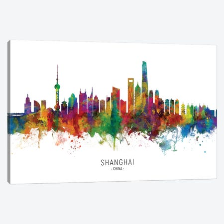 Shanghai China Skyline Canvas Print #MTO2071} by Michael Tompsett Canvas Art Print