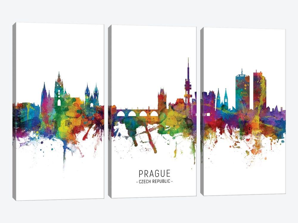 Prague Czech Republic Skyline by Michael Tompsett 3-piece Canvas Wall Art
