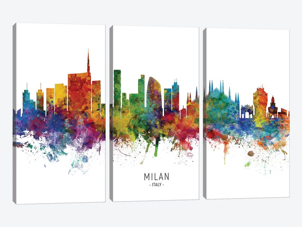 Milan Italy Skyline by Michael Tompsett 3-piece Art Print